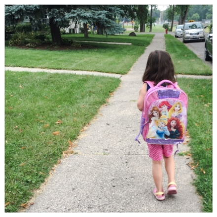 On our way to Kindergarten open house.