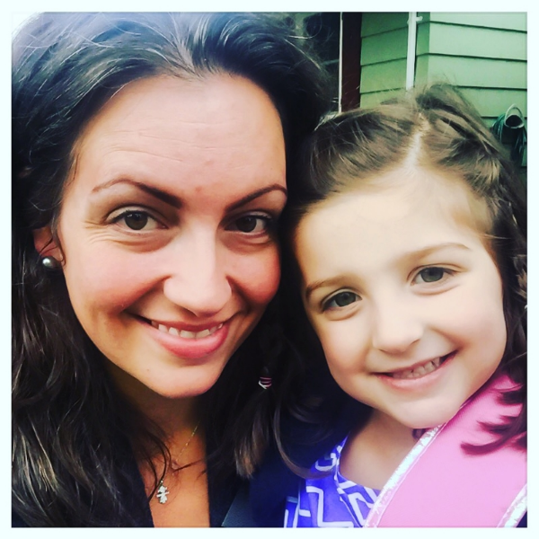 E and Mommy selfie on the first day of kindergarten.