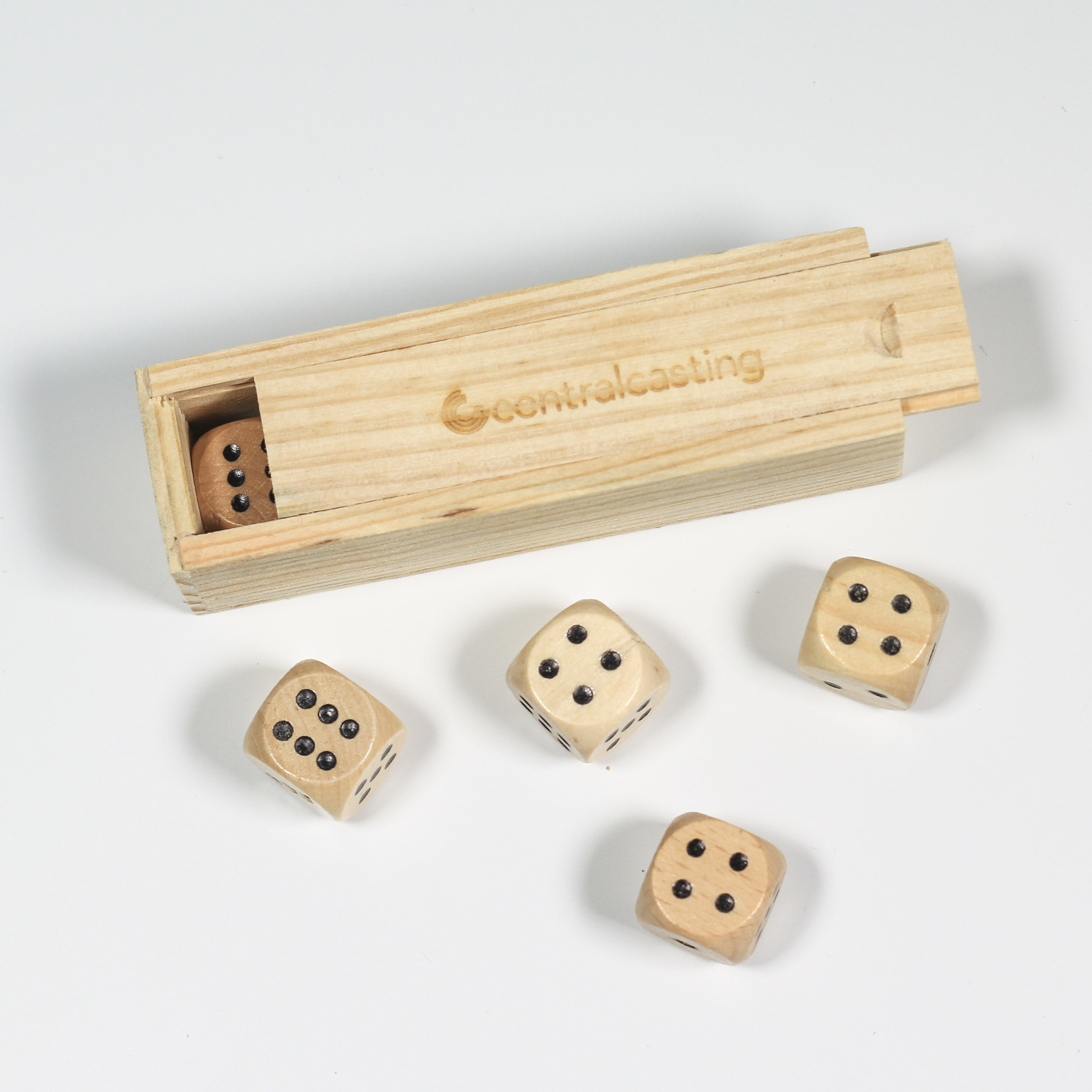 Engraved Wooden Dice Set