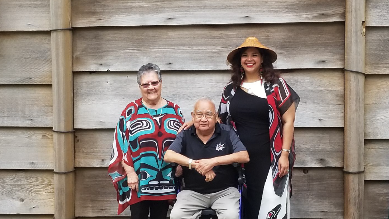 Sts'ailes Post Secondary Graduate Sica La Rochelle w/ sts'ailes elders and grandparents Shirley & Rudy Leon