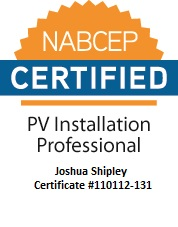 Joshua Shipley, NABCEP certified PV installation professional