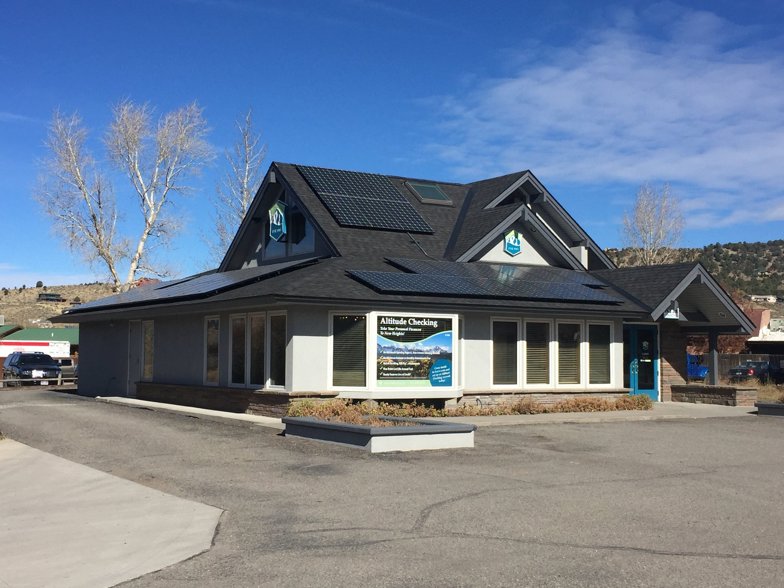 The solar power system alternative power enterprises installed for Citizen's State Bank in Ridgway Colorado