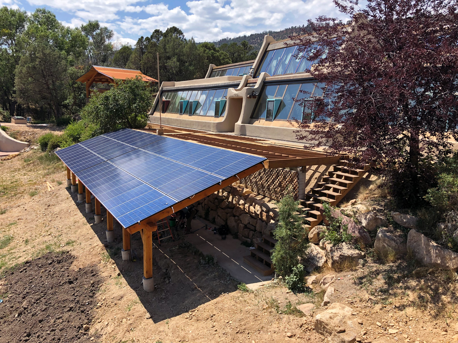 The solar power system we designed for this unique earthship home