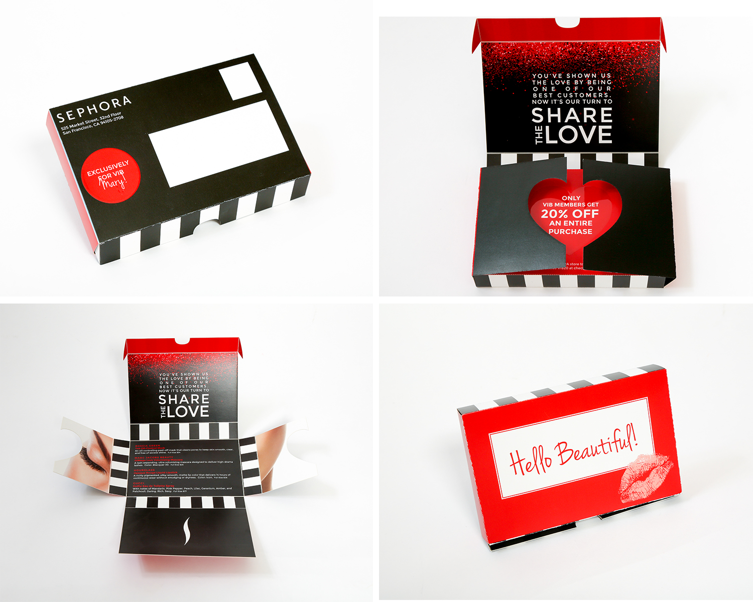 Sephora Self-Mailer  Digital Laser Cut Self-Mailer with Variable Data and Scodix Special Effect  Concept & Design