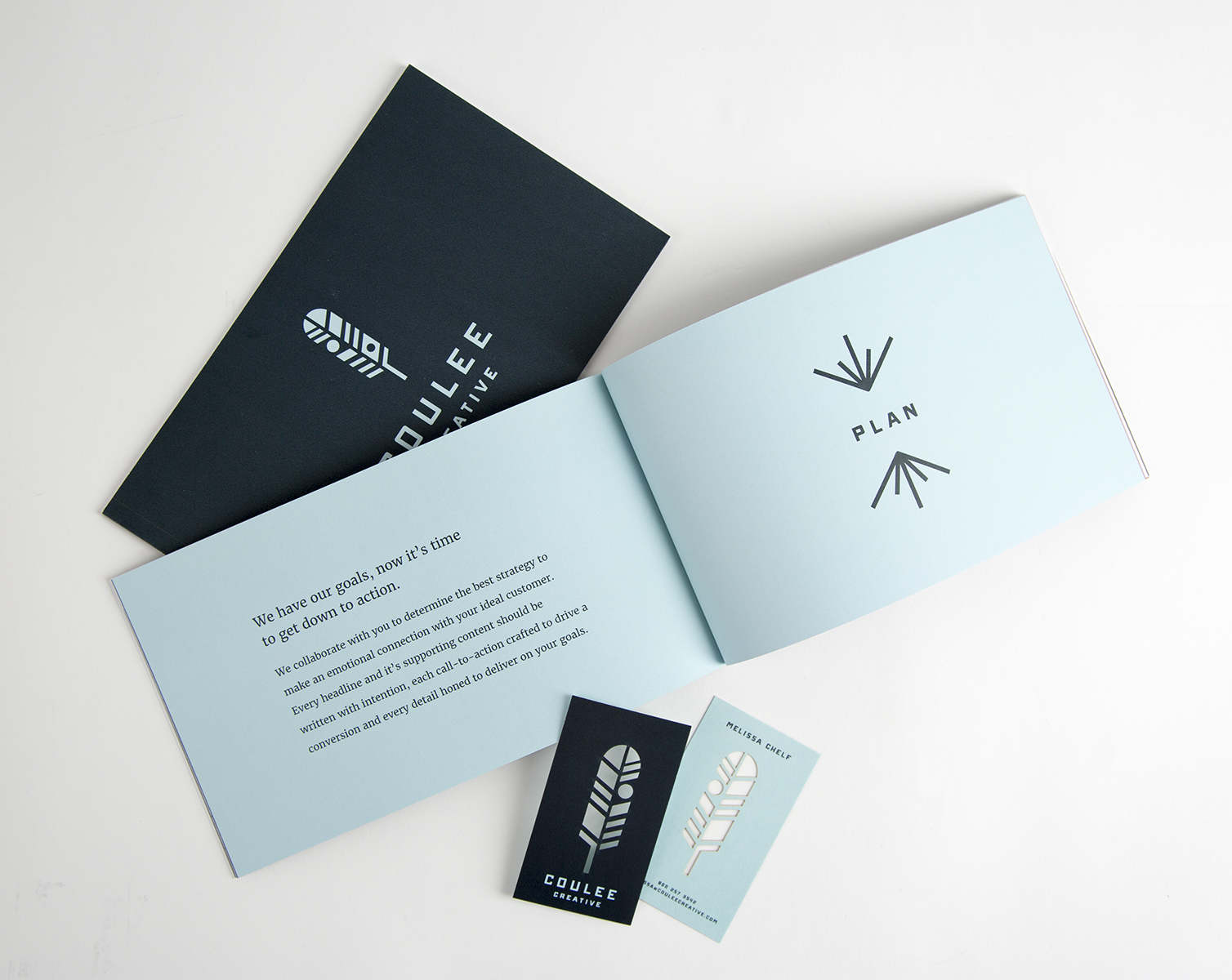 Perfect Bound Brand Book and Digital Laser Cut Business Cards  Design