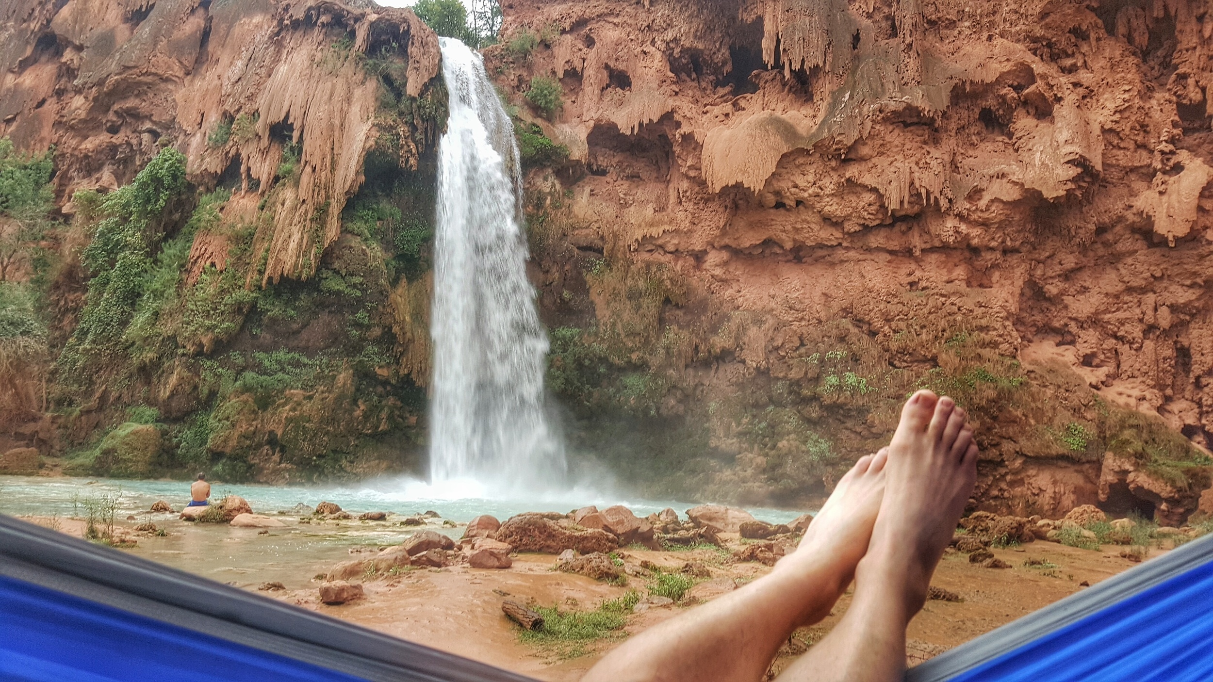 "Can't beat a front row seat to Havasu Falls, especially if that seat is a hammock. One of the ""must bring items"" for my blog. Be sure to check out some other ideas to make your dream trip as comfortable as possible."