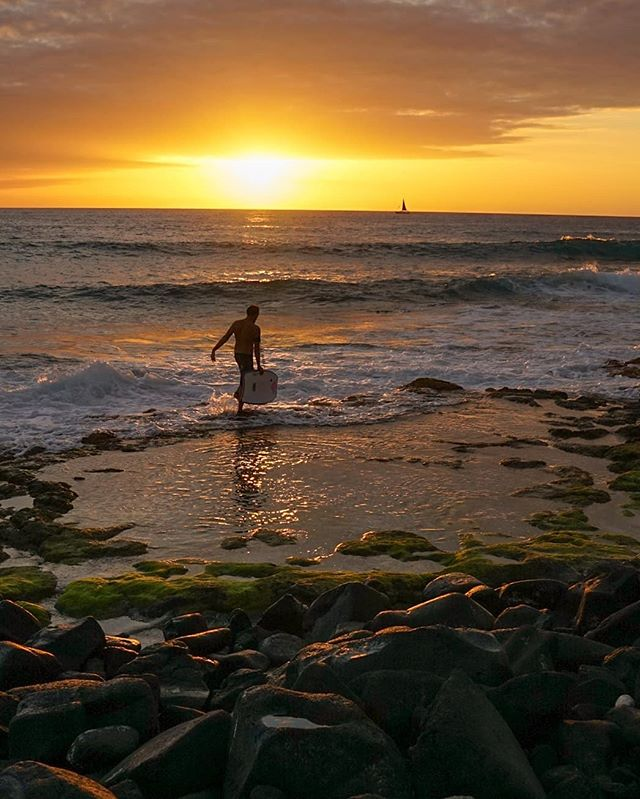 "Chasing the light in Kona, Hawaii. -  It's been a little while since my last post but I've still been out shooting as much as possible and photographing my recent travels to ""da big island"" in Hawaii. I captured this first image of a local who was squeezing the last few minutes of light for the day in Kona to get one last boogy board ride in. Afterwards I was shooting some long exposures of a group spinning fire & lights on the beach and showed them saying ""It would be cool to find this person to get them the photos."" Oddly enough, I had been standing next to @rome_de_lion whole time ha it's always fun taking candid shots as a fly on the wall of people living life to the fullest. Thanks for being great sports! #Hawaii #fantasticearth"