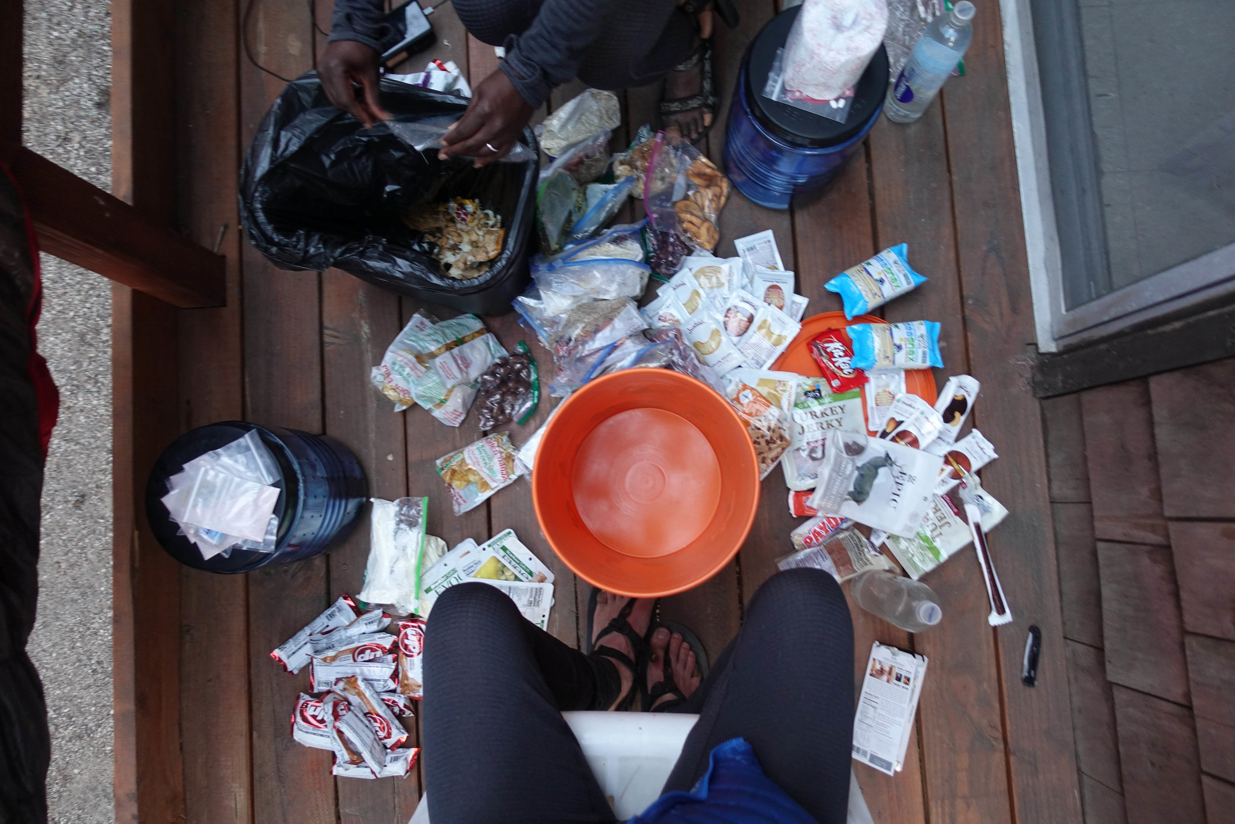 This was our 2nd resupply. We stuffed all our food into that bright orange bucket and mailed it to Red's Meadow to pick-up when we arrived.