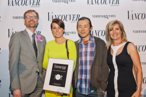 Vancouver Magazine's Editor-in-Chief John Burns, Dara Young and David Gunawan of Farmer's Apprentice, and Lori Chalmers, Publisher of Vancouver Magazine