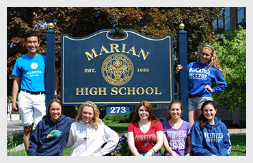 Marian High School                           More>>>     Year Established: 1954   Location: Framingham, MA  Type of School: Private HS. CO-ED   Grades: 9-12  Teacher to Student Ratio: 13