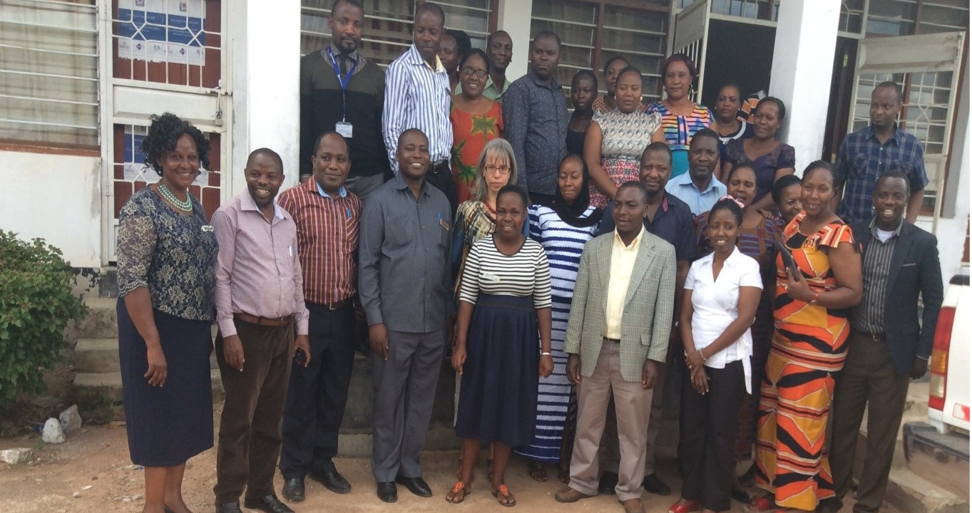 Teddy with the regional, district, and staff of Catholic University of health allied sciences (CUHAS) after training engagement on MamaToto Model born in Uganda by MUST- and transferred to Mwanza, Tanzania