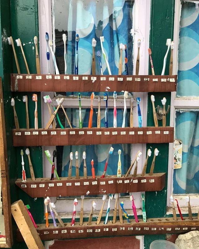 Toothbrushes all together at the Home Away from Home boarding house in Namche Bazaar where our students live while attending school!! Amazing the organization of this boarding house! #sherpaedfund #namchebaazar #homeawayfromhome #alpineascentsfoundation #alpineascents