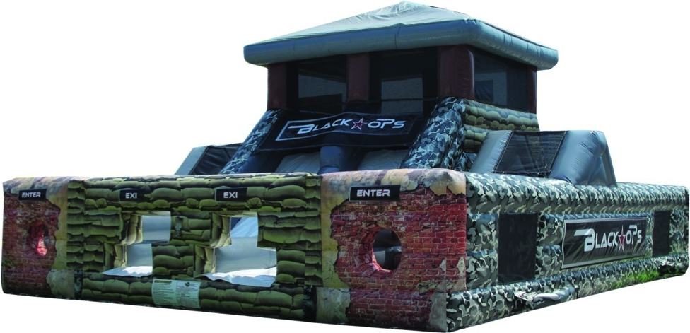 Are you ready to take on the mission? This two lane obstacle course is a one of a kind experience allowing the participants to have the feeling that they are truly engaging in a war of dexterity. Battle your opponent to victory as you make your way through the bricked wall entrance, down the path of stone pillars, crawl throughs and passageways. The journey doesn't end here as you reach the rock climb wall leading to the uniquely designed teeter-totter pivoting bridge, then down the slide to the finish line!     People Per Hour: 100+   Power Requirement: (3) 20 AMPS   Set-up Time: 1 Hour   Space Required: 40' x 30' x 18'