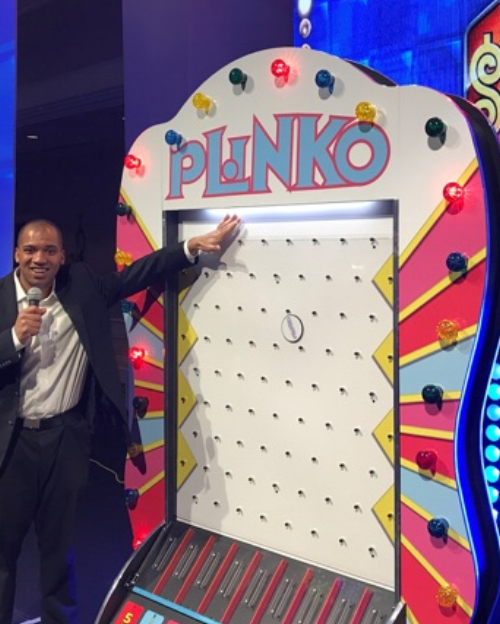 You'll hit an all new excitement level with our Giant Plinko! Drop the disc in any slot you choose. Watch the disc as it makes it way down. Which way will it go? Nobody knows! Cross your fingers and hope it doesn't go into the zero slot!   People Per Hour: 30-60 Power Requirement: 20 amps Set-up Time: 1 hour Space Required: 4' x 4' x 7'