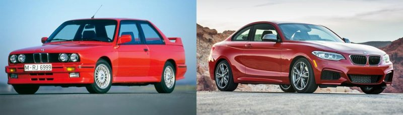 Despite their generational differences, the E30 M3 appears a clear inspiration for the new M235i.