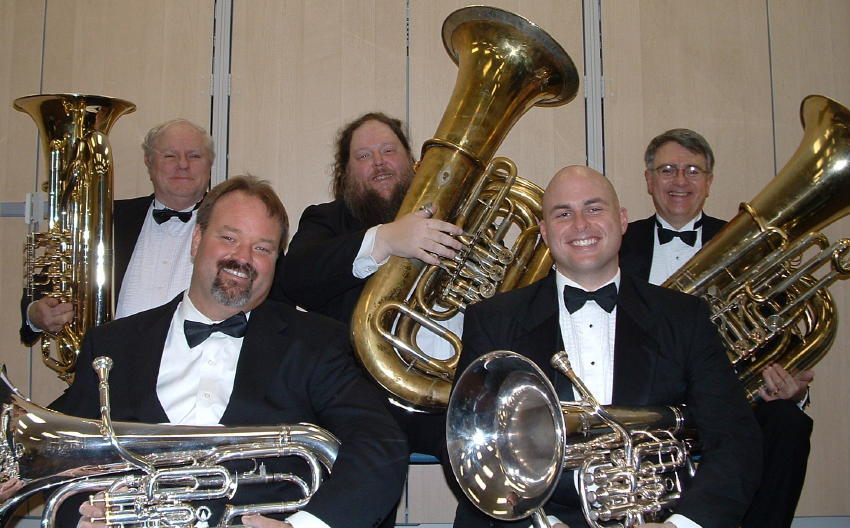 Occoquan Heavy Metal:  (front row) Don Stewart and Dean Miller on Euphonium and  (back row) Lee Culbreth, Jim Davis, and Jack Tilbury on Tuba.