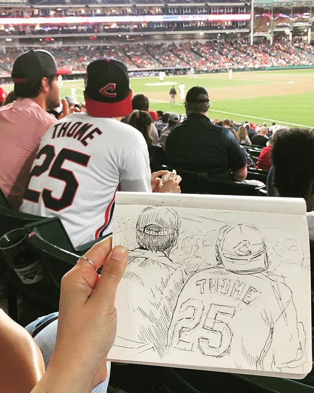A win for my home team in extra innings, sketchbook (and beer. and hot dog.) in hand. A perfect summer evening in the #CLE.