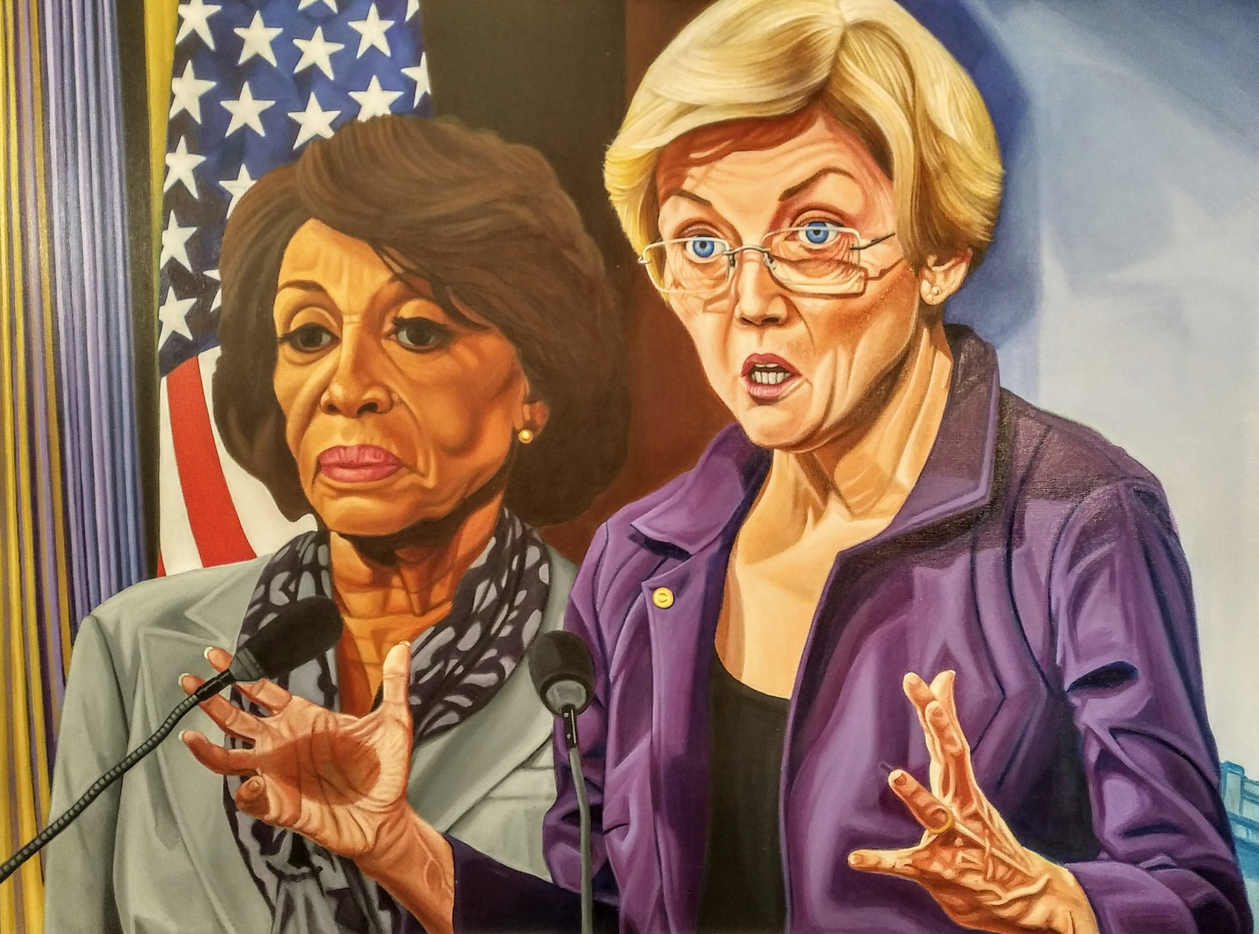 "Portrait of Congresswoman Maxine Waters and Senator Elizabeth Warren (""A Woman's Place is in the House and Senate"")"