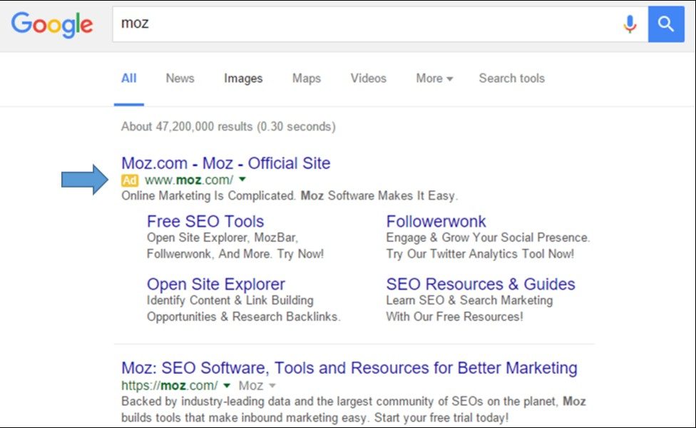 Screenshot of a Google Search for Moz, a Search Engine Optimization tool.  Clicking the image will open www.moz.com in a new window.