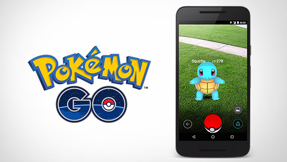 Pokemon GO logo next to phone