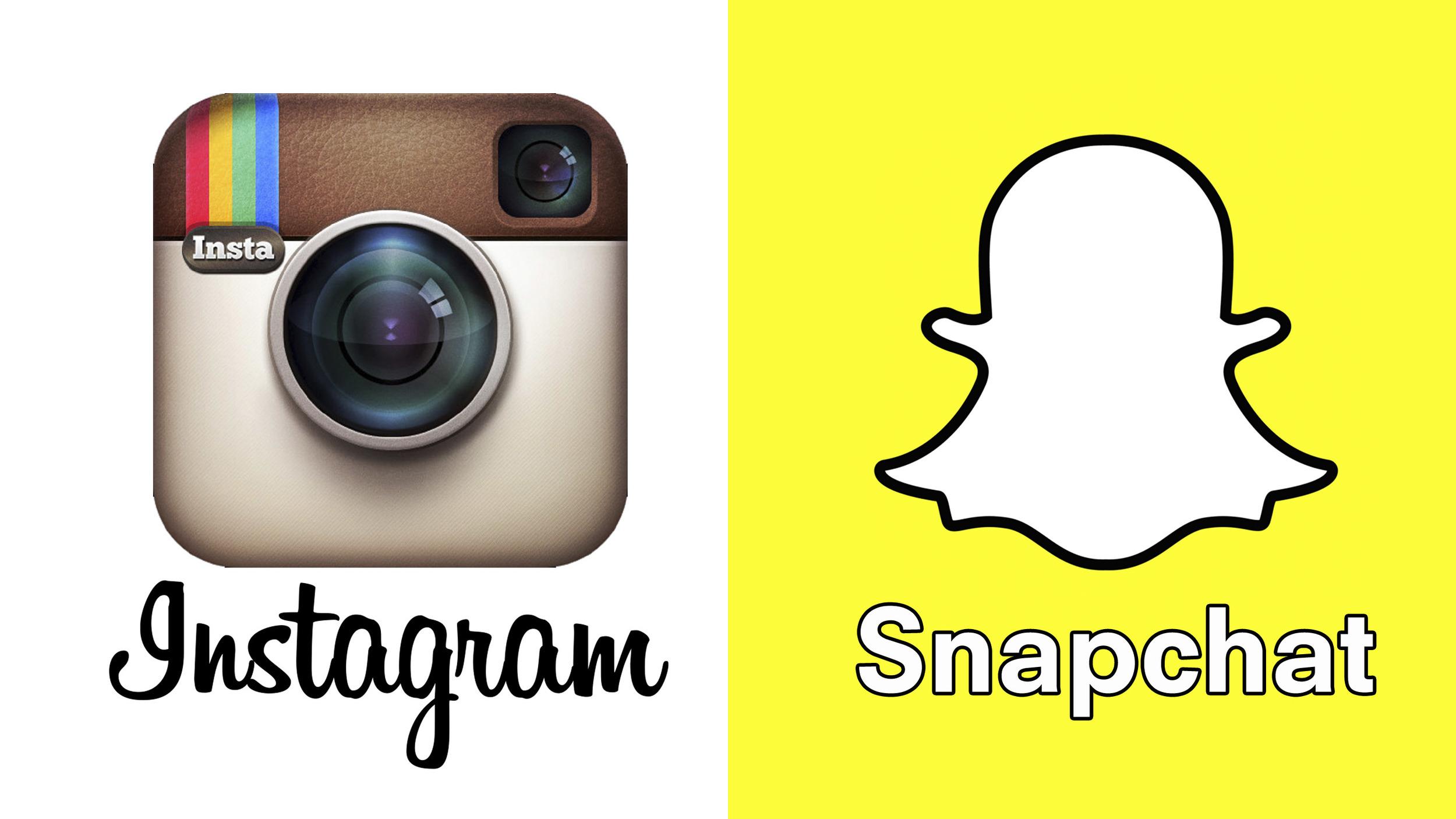 Instagram logo next to Snapchat logo