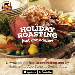 """Photo by Certified Angus Beef. Promotional digital marketing flyer promoting the Certified Angus Beef """"Roast Perfect"""" app."""