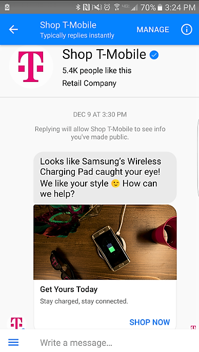 Screenshot of T-Mobile Chatbot message about a Samsung Wireless Charging Pad.