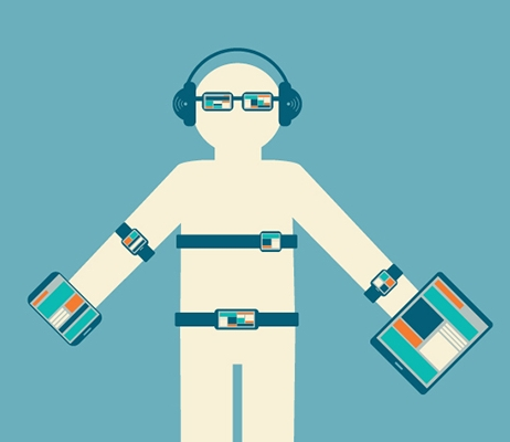 Image from BetaNews.com. Cartoon person wearing several high-tech devices such as watches, glasses, headphones, belt, heart rate monitor and is holding an iPad and iPhone.