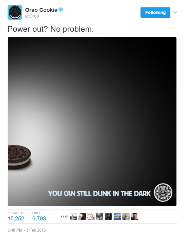 """Screenshot of famous """"Oreo"""" Tweet """"You can still dunk in the dark."""" during a Super Bowl power outage."""