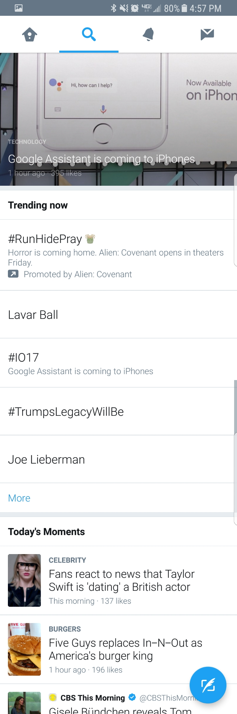 "Screenshot of Twitter's ""trending"" section  featuring Google Assistant's announcement of their integration with iPhone."