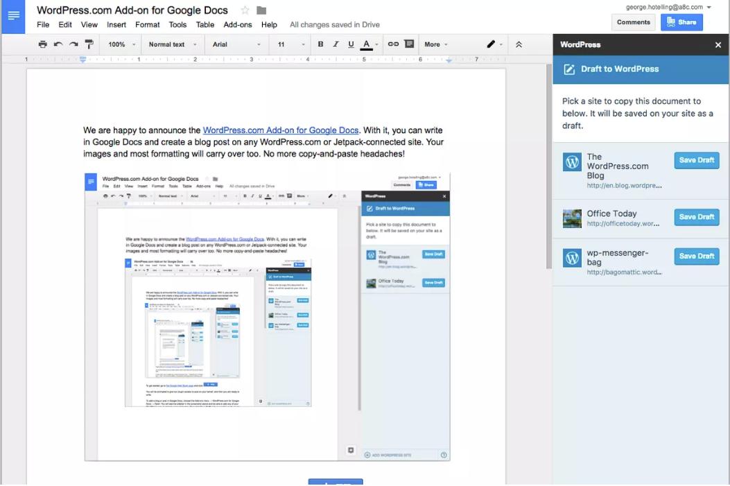 Via WordPress.com. Screenshot of Wordpress pages and Google Docs integration.
