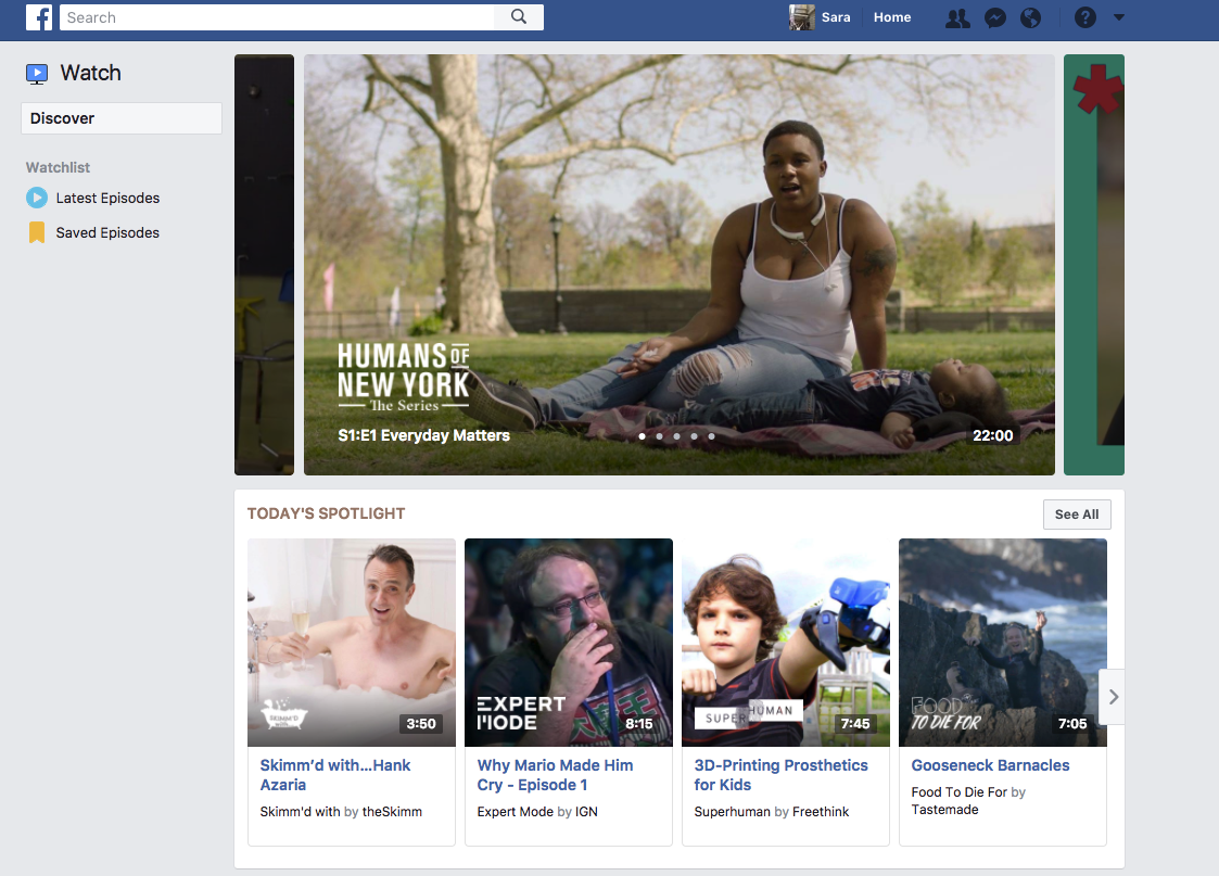Screenshot of Facebook watch displaying episodes of several video series that are available on Facebook Watch only.