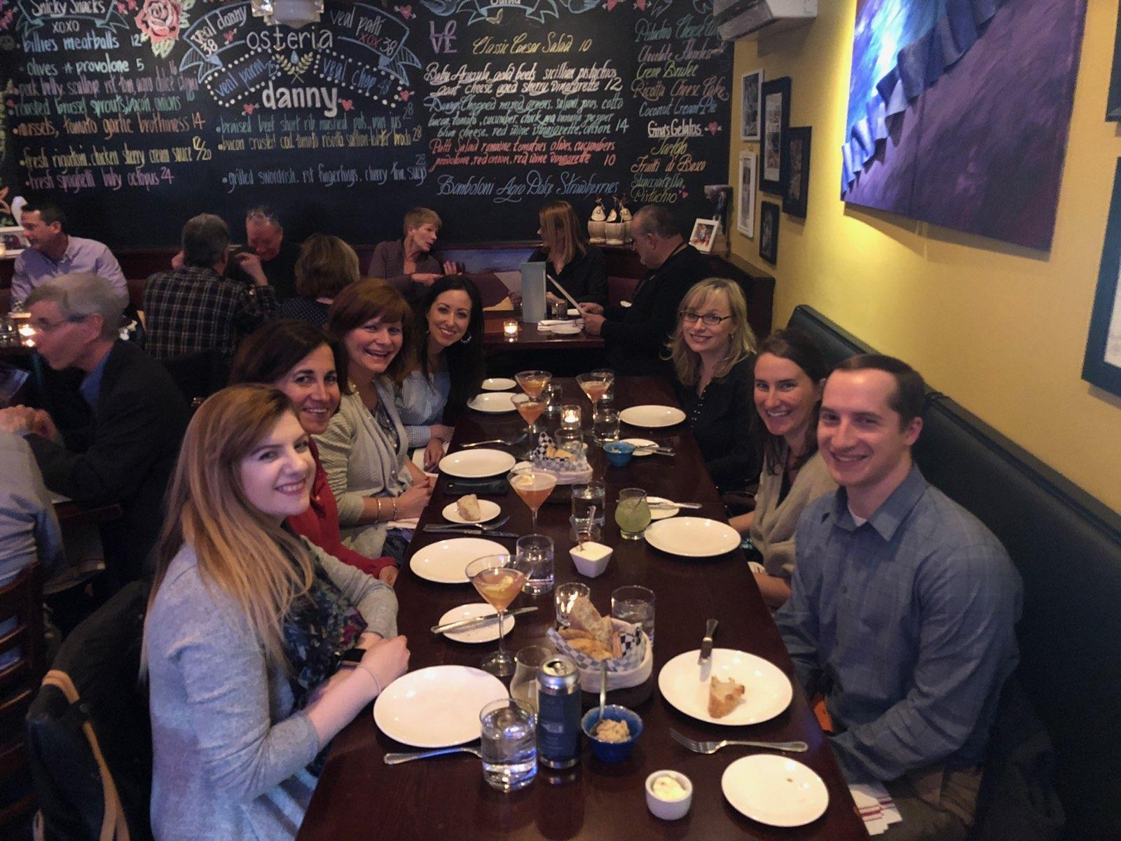 Sparkshoppe digital marketing team out to dinner at Osteria Danny in Saratoga Springs, New York