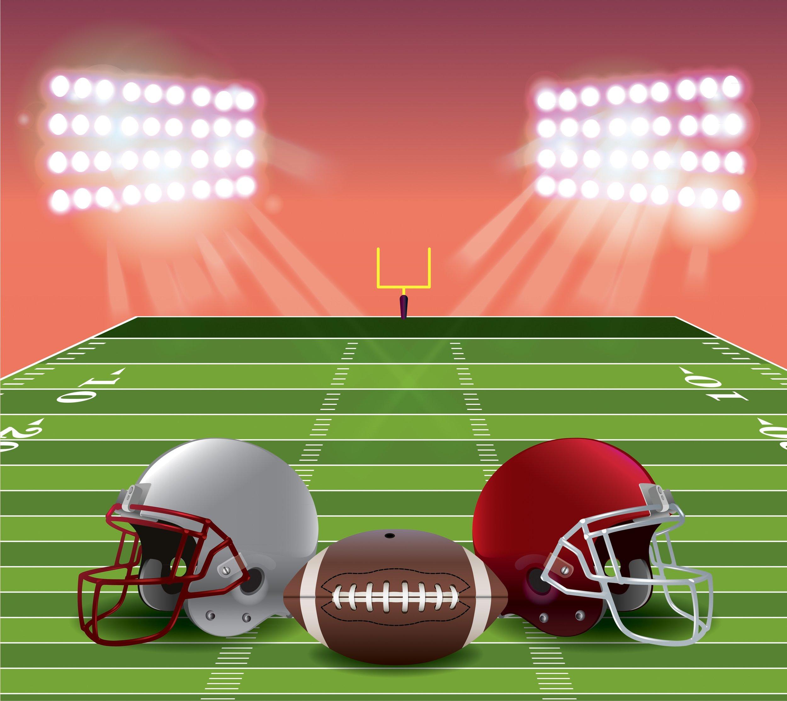 Digital graphic of football helmets and football on a football field with stadium lights