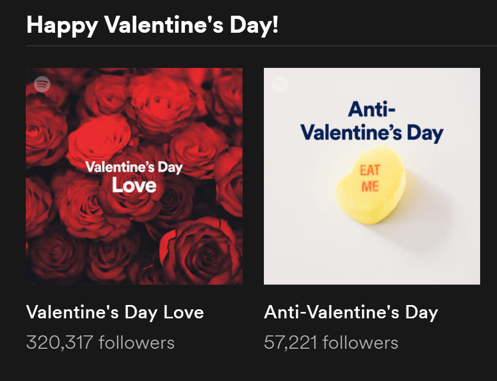 """Screenshot of two different Valentine's day playlists on Spotify - one for """"Valentine's Day Love"""" and one for """"Anti-Valentine's Day"""""""