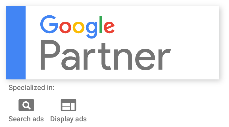 Google Partner logo displaying specialties in search and display PPC advertising.