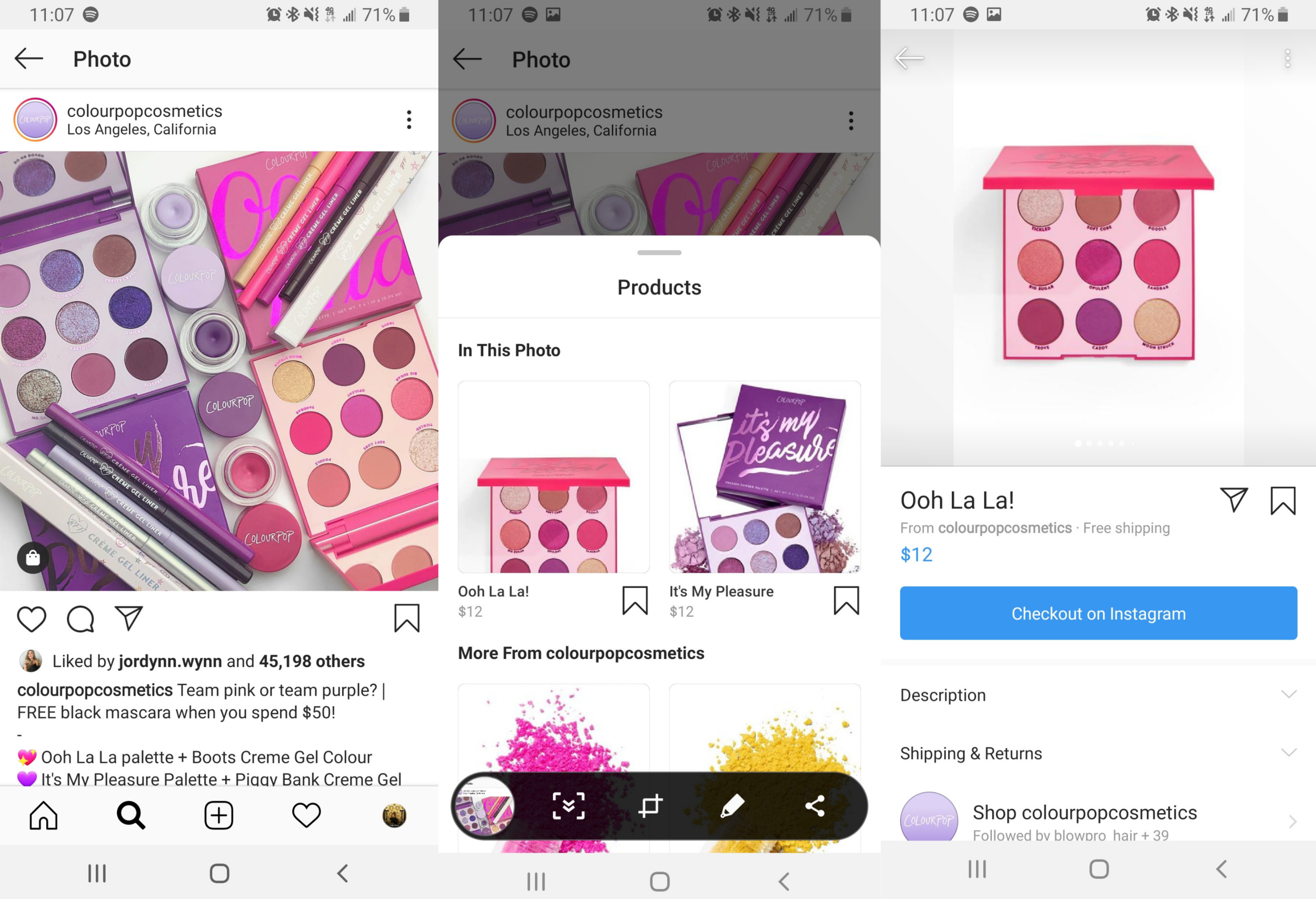 Instagram shopping path using new Checkout feature.