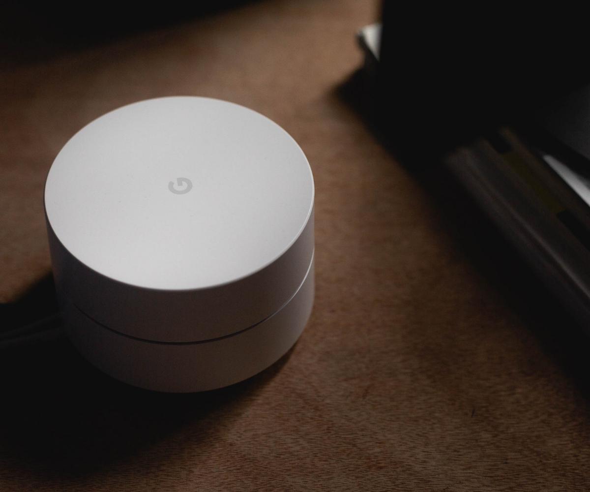 Google Home device on desk