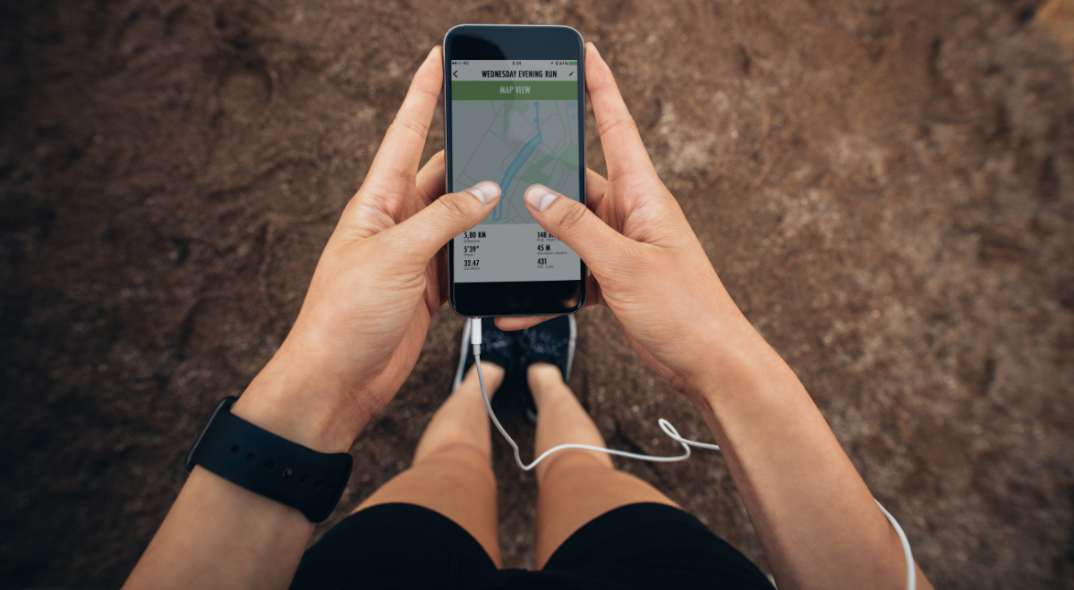 iPhone being set up for a fitness activity using the Map My Run app