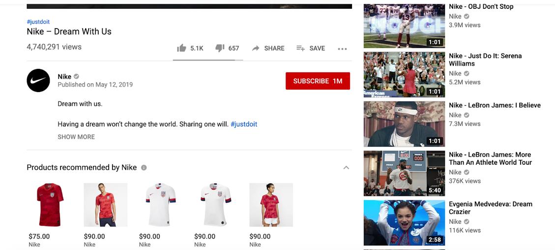 """Screenshot of """"Nike - Dream With Us"""" YouTube video featuring a shoppable section of products recommended by Nike beneath the video description."""