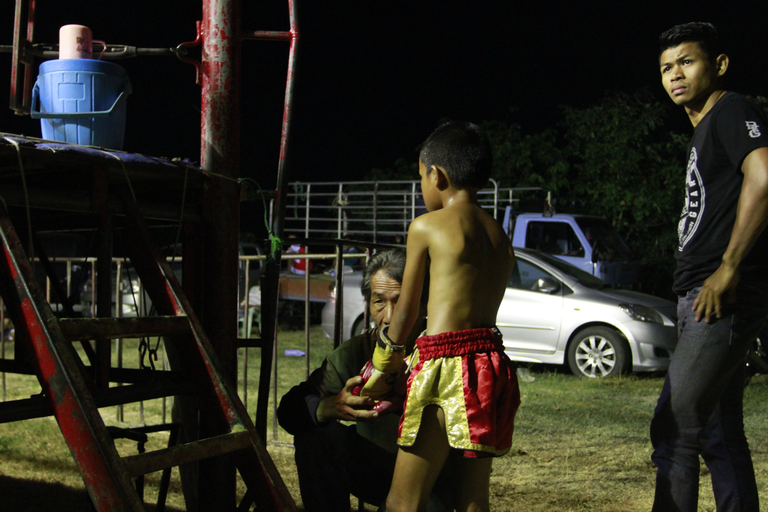 bpaet recieving a blessing just moments before stepping into the ring for the second time in two days