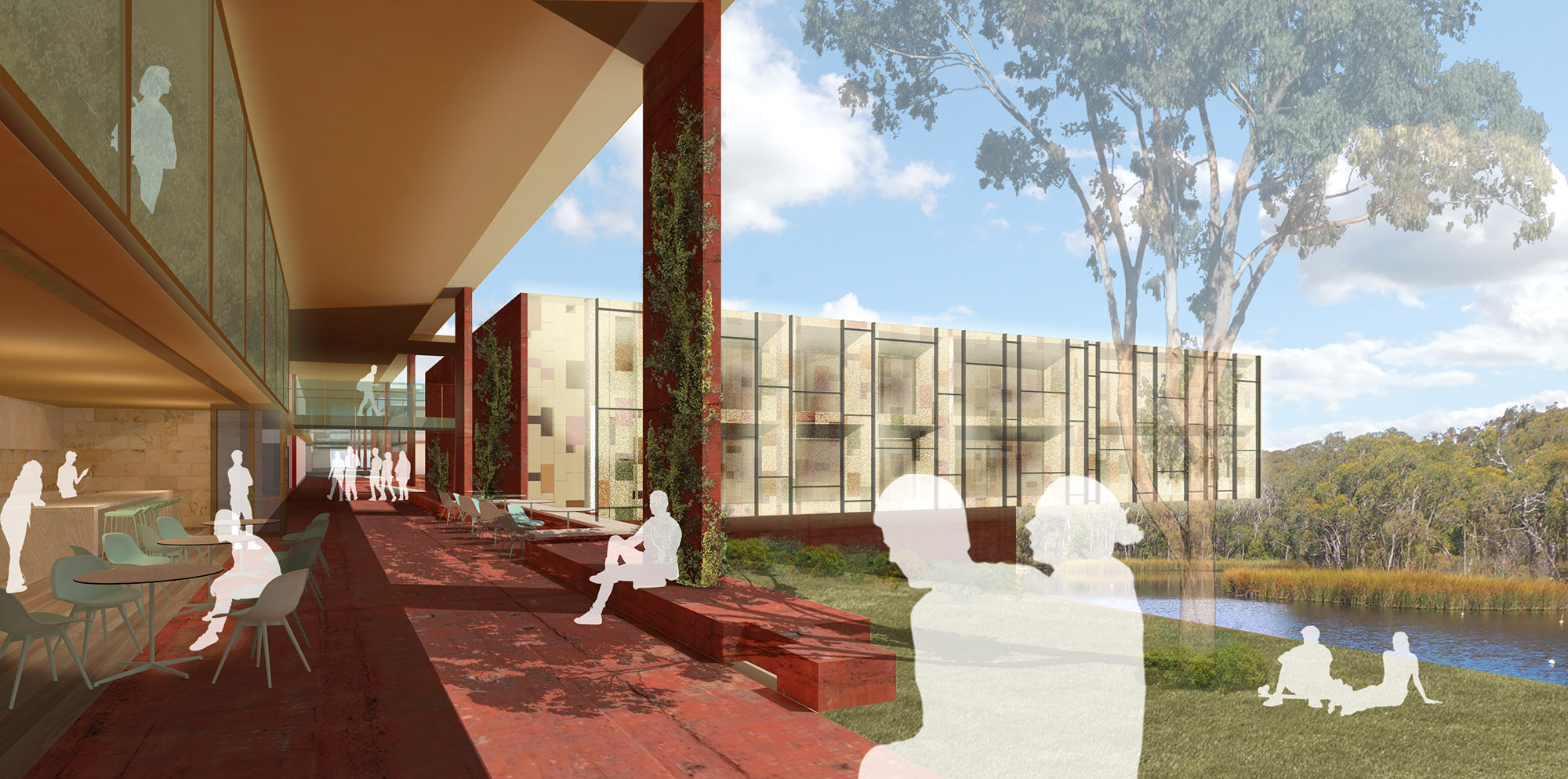 "The two storey cloister opens the views to the unique wetlands to create a memorable journey to each student's ""household""."
