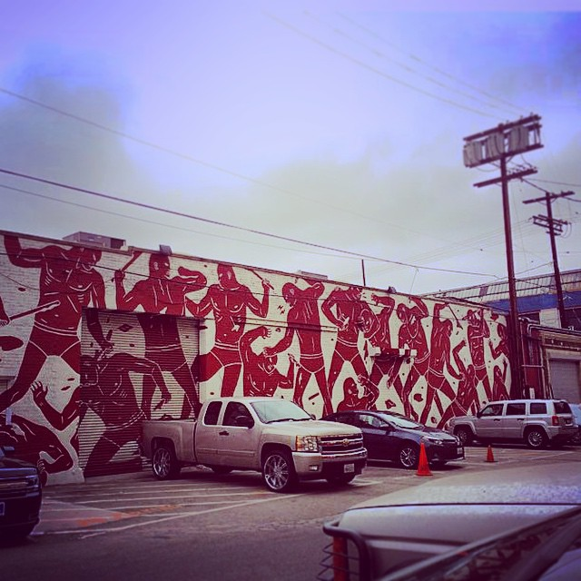 Cleon Peterson's mural is directly north of Where Stumptown Coffee is.