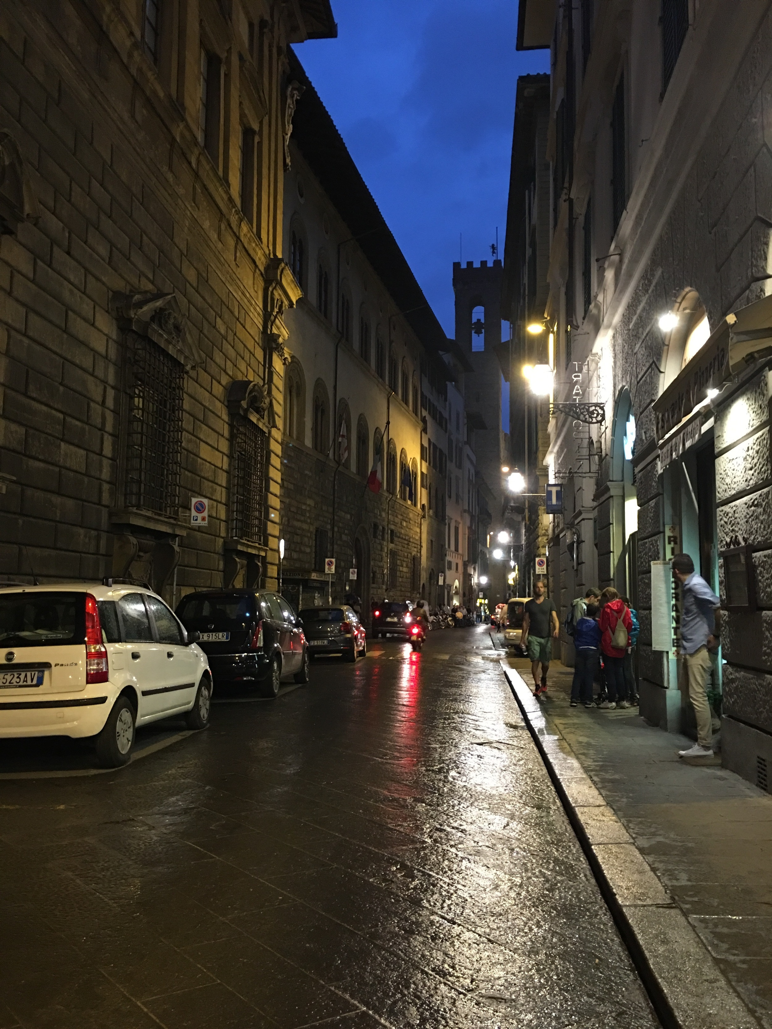 Florence at night. That's piazza Vecchio in the distance. It also just rained