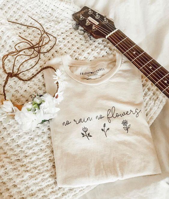 No Rain No Flowers PositiviTee Shirt in Cream