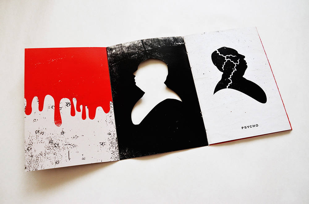 Gatefold to create the imagery of blood dripping through the diecut of Hitchcock's silhouette.