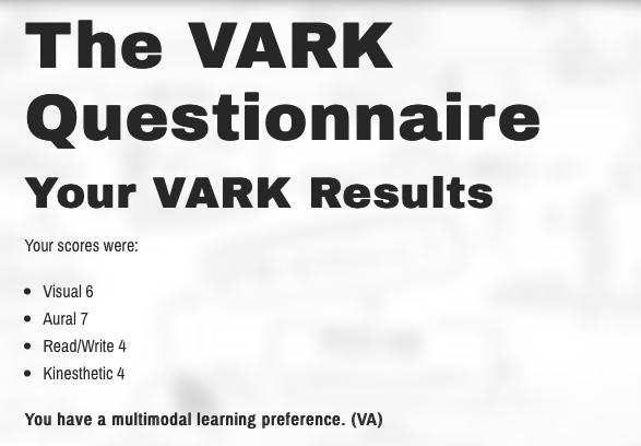Take the test on  vark-learn.com