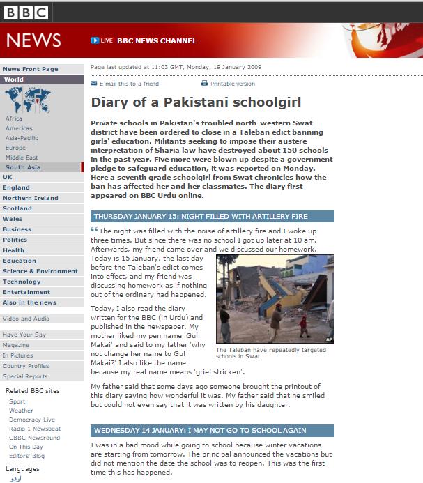 Malala's first blog, 2009