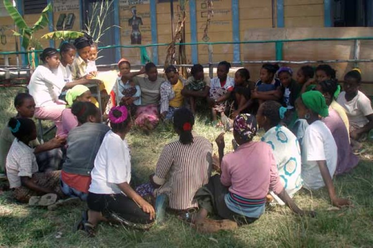Uncut girls meeting at the  Kembatta Women's Self-Help Center