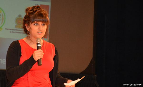 Arifa Nasim speaking at the  #Generation2030 event on 27 September 2015 in New York (Photo: Wynne Boelt | UNDP)